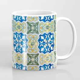 Seamless Floral Pattern Ornamental Tile Design : 6  blue, yellow Coffee Mug