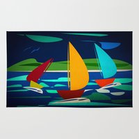 sailing Area & Throw Rugs featuring sailing by laika in cosmos