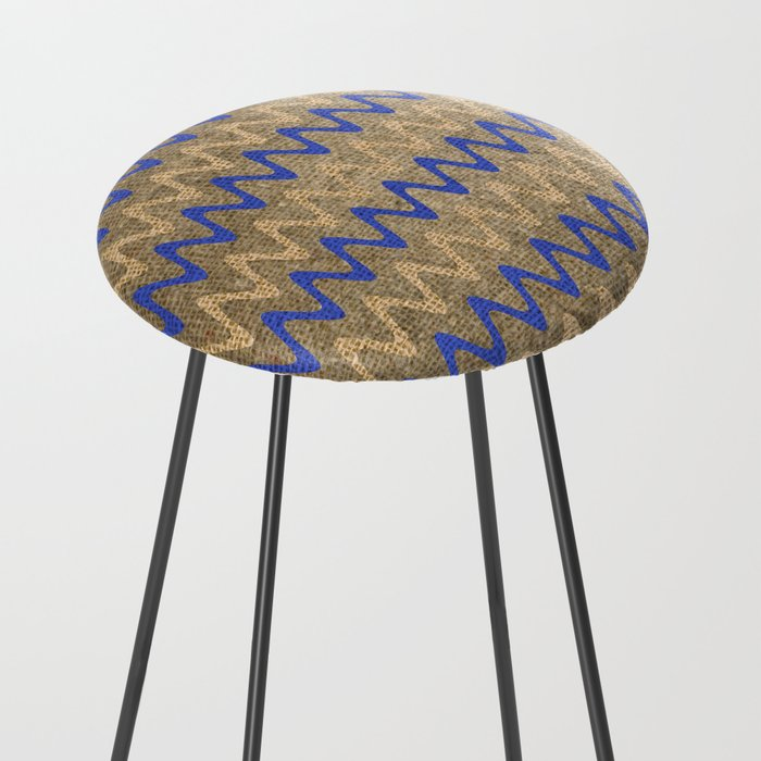 Blue and Tan Zigzag Stripes on Grungy Brown Burlap Graphic Design Counter Stool