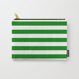 Narrow Horizontal Stripes - White and Green Carry-All Pouch