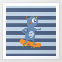 Skateboarding Monster Art Print
