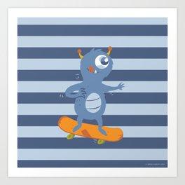 Skateboarding Monster Art Print