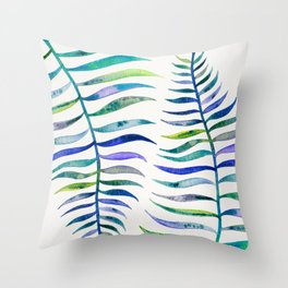 Indigo Palm Leaf Throw Pillow
