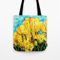 tulips Tote Bags featuring Tulips  by sladja