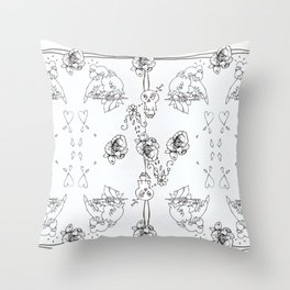 Color Your Own Valentine's Day Nightmare Throw Pillow