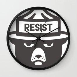 Bear Hat is Resist Wall Clock