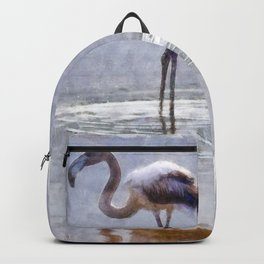 Flamingo Ripples and Reflections Watercolor Backpack
