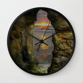 Perranporth Sunset, Cornwall, England, United Kingdom Wall Clock