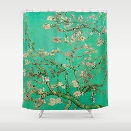"Vincent van Gogh ""Almond Blossoms"" (edited emerald) Shower Curtain"