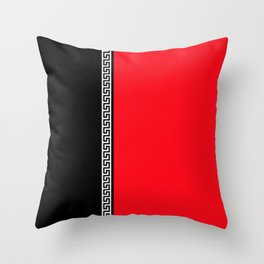 Greek Key 2 - Red and Black Throw Pillow