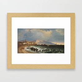 Manuel Barrón y Carrillo , Port of Málaga 1847 Framed Art Print