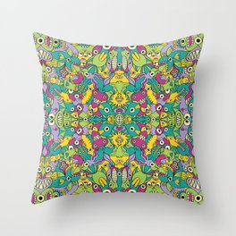 Odd creatures having fun by multiplying in a seamless pattern design Throw Pillow