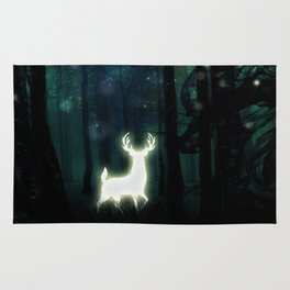 Dark Green Forest with Glowing Reindeer and Shimmering Lights Rug
