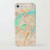 boston map iPhone & iPod Cases featuring Boston watercolor map Downtown by Cityette