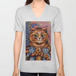 Cat and Her Kittens-Louis Wain Cats Unisex V-Neck
