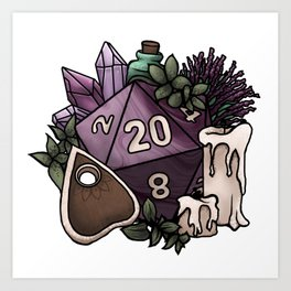 Witchy D20 Tabletop RPG Gaming Dice Art Print