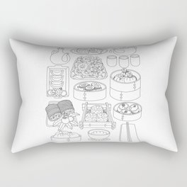 Sunday Dim Sum - Line Art Rectangular Pillow