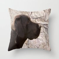 labrador Throw Pillows featuring black Labrador by Doug McRae