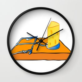mousetrap with cheese Wall Clock