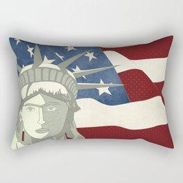Statue of Liberty American Flag Rectangular Pillow