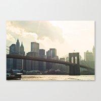 brooklyn bridge Canvas Prints featuring Brooklyn bridge by Photography by Karin A