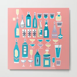 Cocktails And Drinks In Aquas and Pinks Metal Print