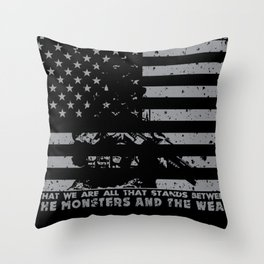 The Monsters And The Weak - US Army Veteran Throw Pillow