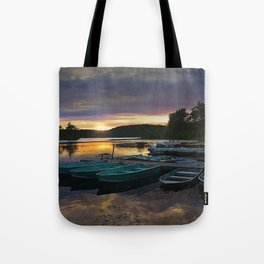 Stunning Lake Front Marina Sunset Tote Bag