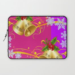 COLORFUL HAPPY HOLIDAY BELLS & SNOWFLAKES ART Laptop Sleeve