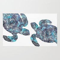 sea turtle Area & Throw Rugs featuring Sea Turtle by LebensART