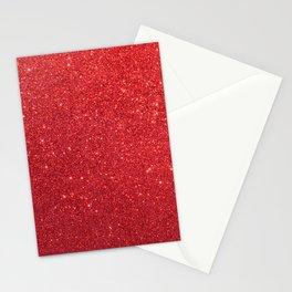 Ruby Red July Leo Birthstone Shimmering Glitter Stationery Cards