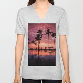 Paradise Sunset Tropical (Color) Unisex V-Neck