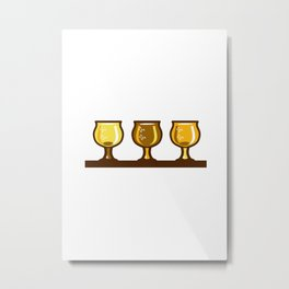 Beer Flight Glass Retro Metal Print