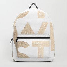 Stay Wild White Gold Quote Backpack