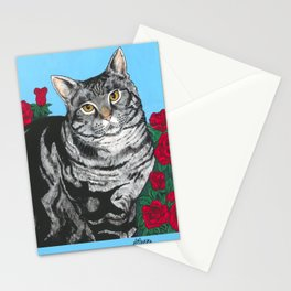 Tabby Cat with Roses Stationery Cards