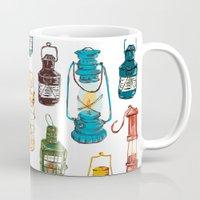 lanterns Mugs featuring nautical lanterns by oleynikka