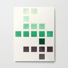 Colorful Teal Turquoise Deep Green Mid Century Modern Minimalist Square Geometric Pattern Metal Print