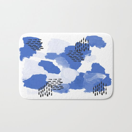 Painted blue abstract monochromatic minimal modern art painting dorm college gender neutral design Bath Mat