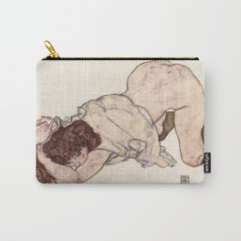 Egon Schiele Nude Girl Resting On Elbows Carry-All Pouch