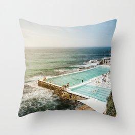 Bondi Icebergs Club   Bondi Beach Sydney Australia Ocean Coastal Travel Photography Throw Pillow