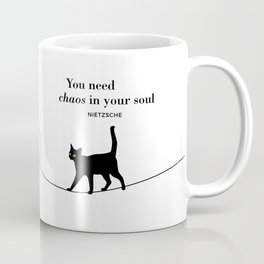 "Friedrich Nietzsche ""You need chaos in your soul"" black cat literary quote Coffee Mug"