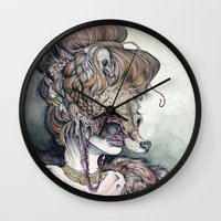 contemporary Wall Clocks featuring Vulpes Masquerade, now as a print! by Caitlin Hackett