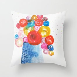 Abstract Flowers in Vase Throw Pillow