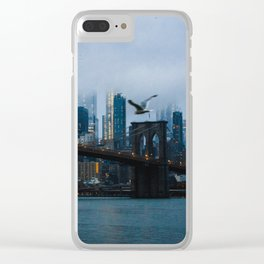 New York City skyline in the fog Clear iPhone Case