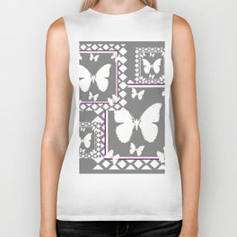 WHITE BUTTERFLIES CHARCOAL GREY-WHITE PATTERNED  AR Biker Tank