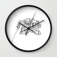 skyrim Wall Clocks featuring Dragonborn (Skyrim) by  Steve Wade ( Swade)