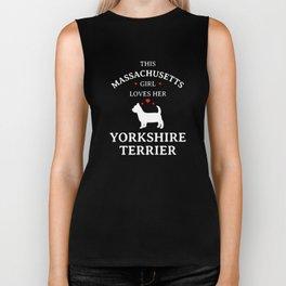 This Massachusetts Girl Loves Her Yorkshire Terrier Pet Dog Lovers Biker Tank