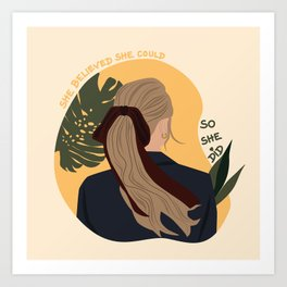Lady with Hair Tie Art Print