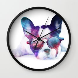 Space Frenchie  Wall Clock