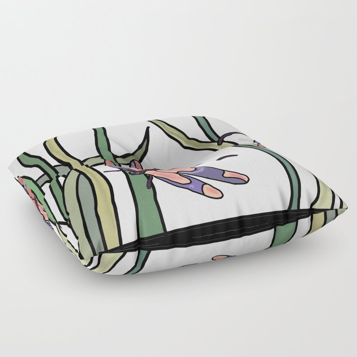 Grass Floor Pillows : pink dragonfly in the grass . art Floor Pillow by totalflora Society6